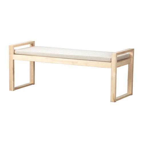 BJÖRKSNÄS Bänk med dyna IKEA Massivt trä är ett slitstarkt naturmaterial.