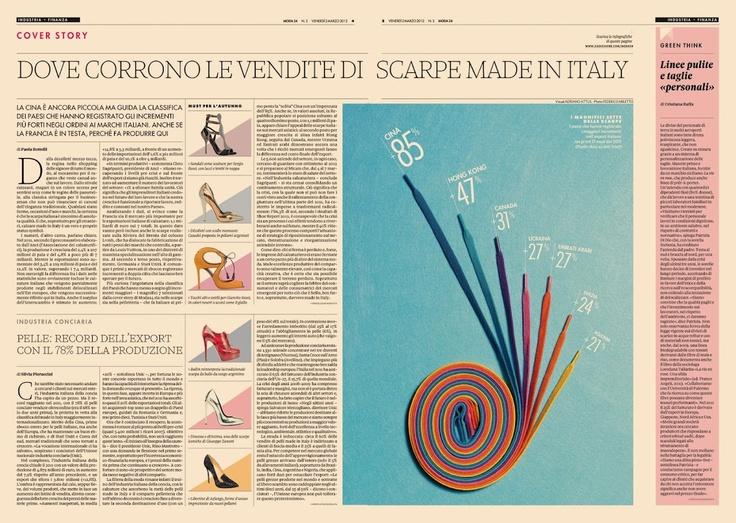 Moda24 issue 3 - Handmade #data #visualization, made in Italy shoes' export @24moda