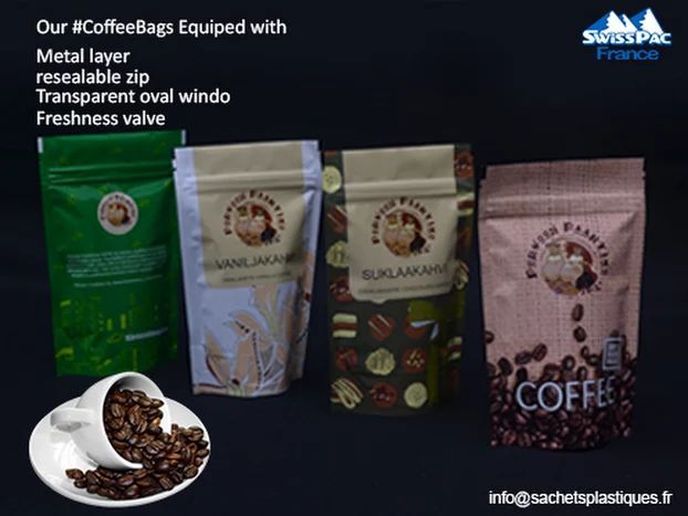 Our #CoffeePackaging With #OneWay #Freshness Valve with #Nylon #HighQuality #valves and sense unique. Buy #FlexiblePackagingBags at http://www.sachetsplastiques.fr/produits/sachets-de-cafe-sachets-de-the/  @SwissPac_France made our proven high quality #Suppliers of #CoffeeBags on the market. Email: info@sachetsplastiques.fr