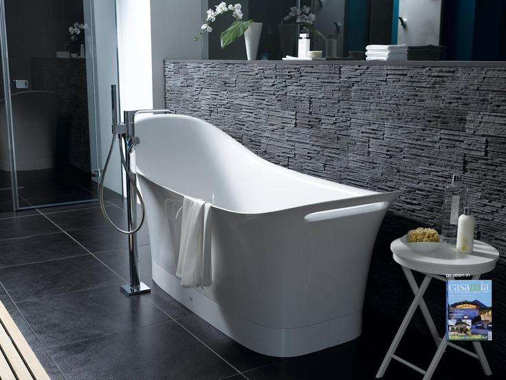 Klimex Toscani stone veneer in a beautiful bathroom application, featured in Casamia Living Magazine.