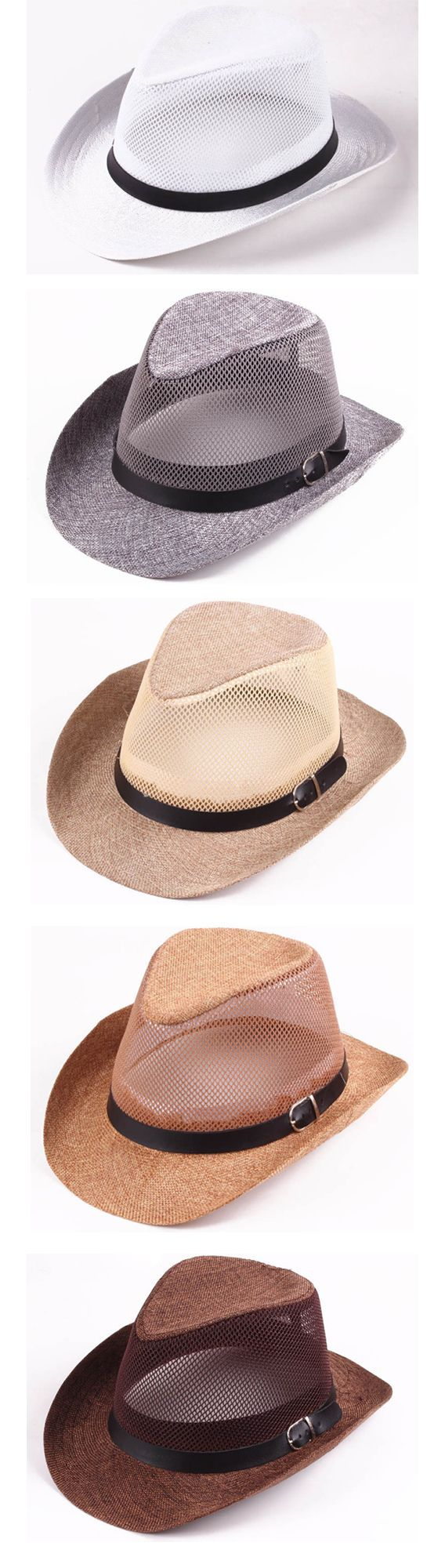 Men Hollow Out Mesh Top Hat / Wide Brim Casual Braid Fedora Beach Sun Flax Panama Jazz Hat