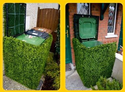 Ashbins are seen everywhere. Artificial boxwood hedges cover them being a green scenery.