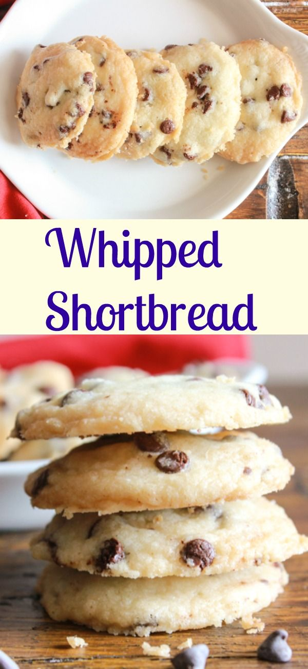 Whipped shortbread, an easy cookie recipe, a yummy melt in your mouth shortbread is even better with chocolate chips. A Christmas favorite.|anitalianinmykitchen.com