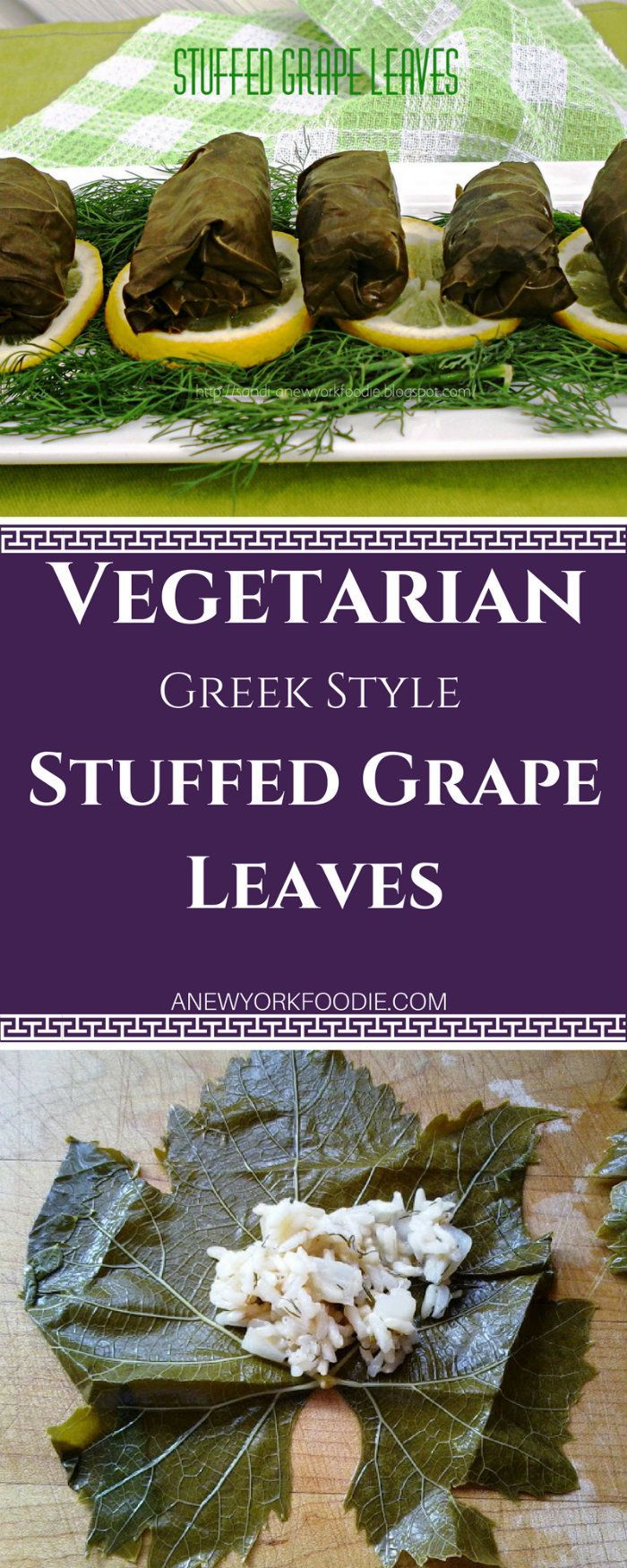 These Vegetarian Stuffed Grape Leaves are a perfect appetizer for your dinners or parties. Stuffed with cooked rice, dill, mint. fresh lemon juice and wrapped in a little grape leave. Serve them warm or cold. So delicious! #greek #appetizers #vegetarian