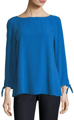 8e13a005948328 Eileen Fisher Silk Georgette Tie-Sleeve Top, Petite | *** Outfit ...