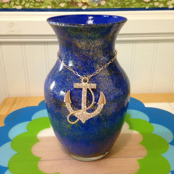 Anchor Room Decor/ Nautical Vase With by CreativeGlassByBecky