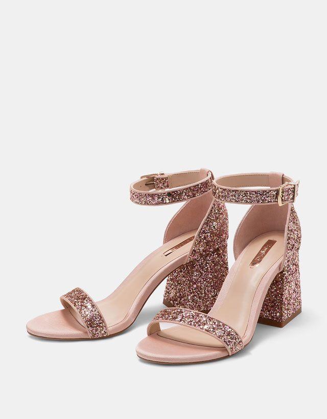 Glitter Mid Block Heel Sandals from Bershka £19,99