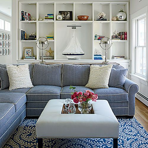 10. Blue and White Family Room - Our Most Repinned Rooms Ever - Coastal Living