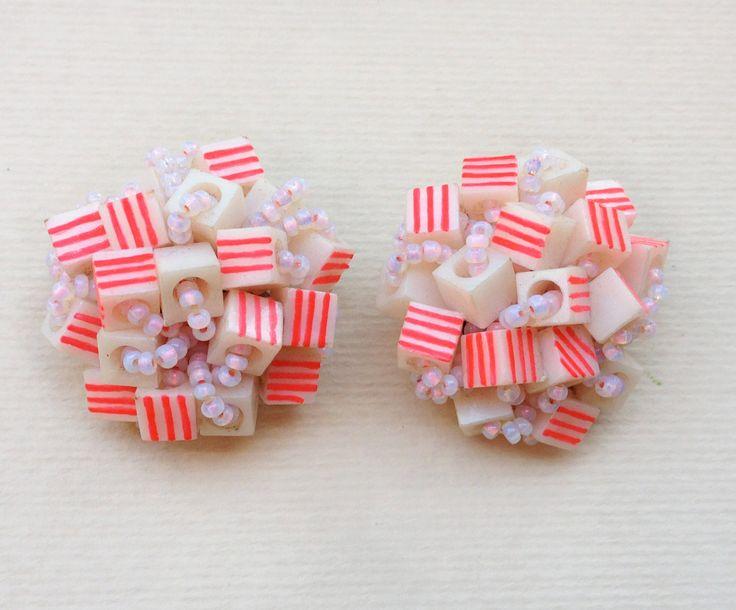 50s italian neon earrings / mid century plastic clip by Skomoroki