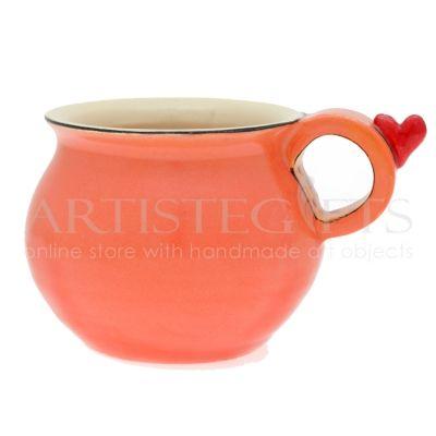 Κούπα Κεραμική Κοραλί Με Καρδιά. Αποκτήστε το online πατώντας στον παρακάτω σύνδεσμο http://www.artistegifts.com/koupa-keramiki-korali-kardia.html