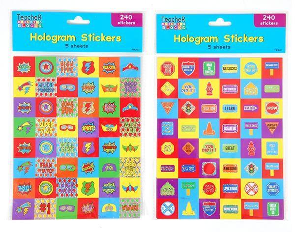 Teacher Supply Hologram Stickers - 48 Units