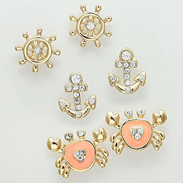 Nautical Earring Set in Apricot on Emma Stine Limited