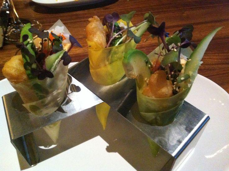 Sushi cone Shrimp tempura with avocados, radishes and spicy mayo