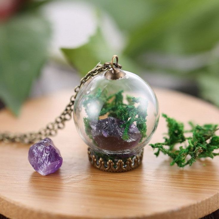 Expression Jewelry™ Amethyst Crystal Terrarium Necklace, with Glass Bulb and Raw Amethyst Crystal Pendant, Moss, and Antiqued Chain Necklace
