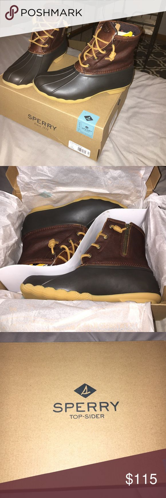 Saltwater Brown/Tan Sperry Duck boots Brand new so in great condition. Never worn. Just accidentally got to of the same pair for Christmas. Feel free to make any offers 😊 Cheaper in Ⓜ️ Sperry Top-Sider Shoes Winter & Rain Boots