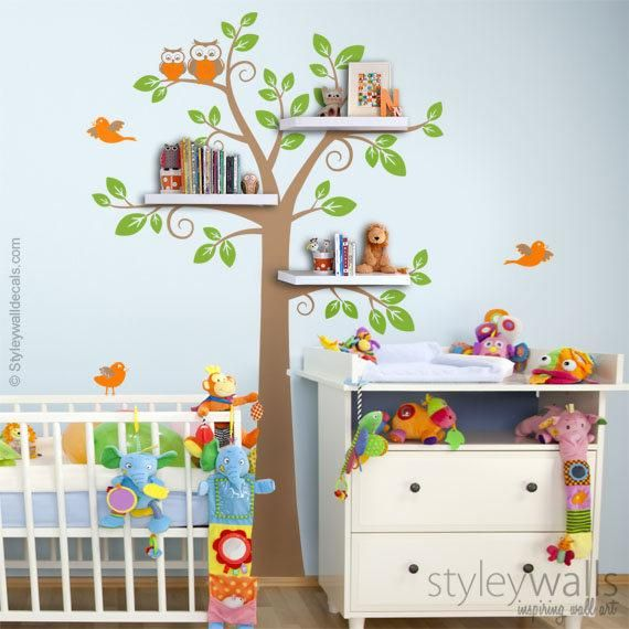. Shelves Tree Decal Children Wall Decal  Shelf Tree Wall Decal for