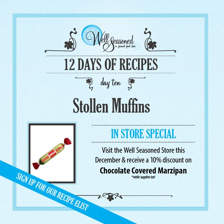 Day 10 of our #ws12days of Recipes went out today: Stollen Muffins ft. Chocolate Covered Marzipan.   Both of Boyajian Almond Extract and Chocolate Covered Marzipan (our featured ingredients) would be a great stocking stuffer for a creative baker!  #cookinggifts #stockingstuffers #gourmetgifts #christmasbaking