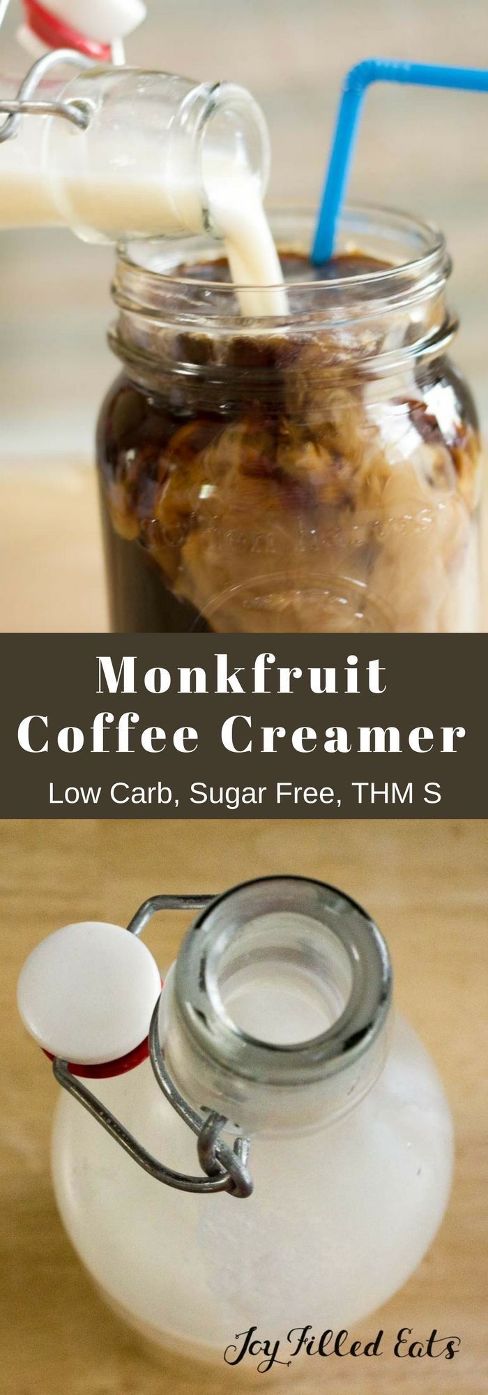 Monkfruit Coffee Creamer - Low Carb, Sugar Free, THM S. This easy Monkfruit Coffee Creamer is perfect for both hot or iced coffee. You can easily adjust the sweetness to your taste buds and add extracts to customize.