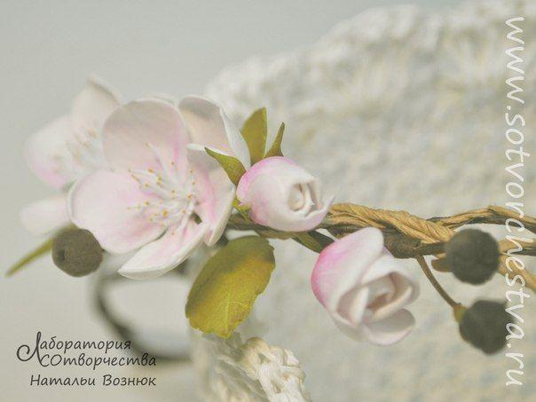 яблоневый цвет - ободок из фома