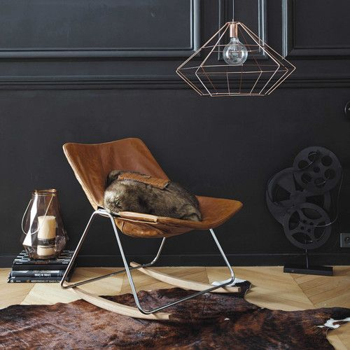 Fauteuil à bascule en cuir marron 300€ Maisons du Monde