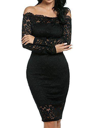 64534858ded Meaneor Vestido de Fiesta Encaje Manga Larga sin Hombros Lápiz Mujer Bodycon