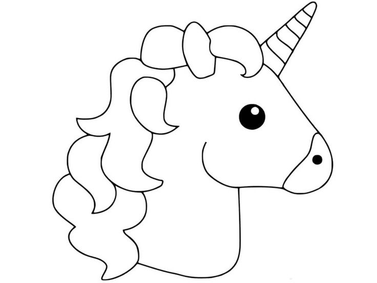 uni creatures coloring pages | Simple and Basic Unicorn Head Coloring Page for Kids ...