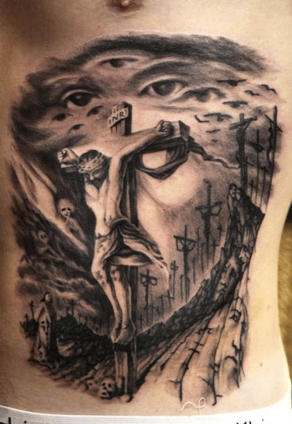 Okay, so not religious and dont usually pin religious posts . . . but this tattoo's design and dimensions are amazing