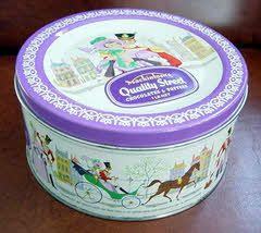 Quality Street, an essential part of every Christmas - old tin (much nicer, and bigger, than the current ones).