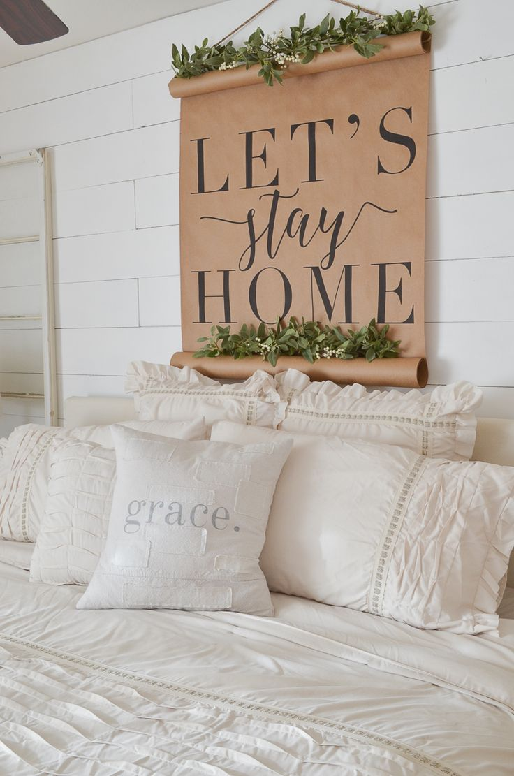 Farmhouse style master bedroom with calligraphy scroll
