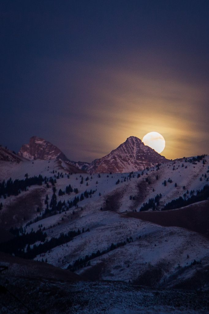 ~~Peek at the Moon | full moon rising behind Cobb Peak in the Pioneer Mountain Range, Sun Valley, Idaho | by acastellano~~