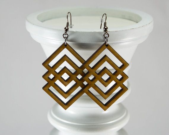 Unique Interlocking Diamond Design Laser-Cut Wooden Earrings -Lightweight Abstract Wood Earrings in Cherry, Maple or Walnut Wood on Etsy, $18.00