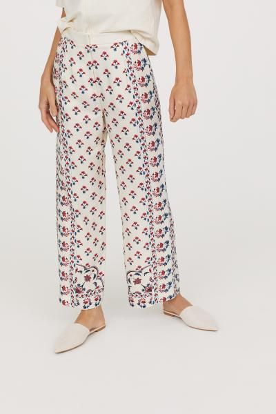 Wide trousers - Natural white/Floral - Ladies | H&M GB 2