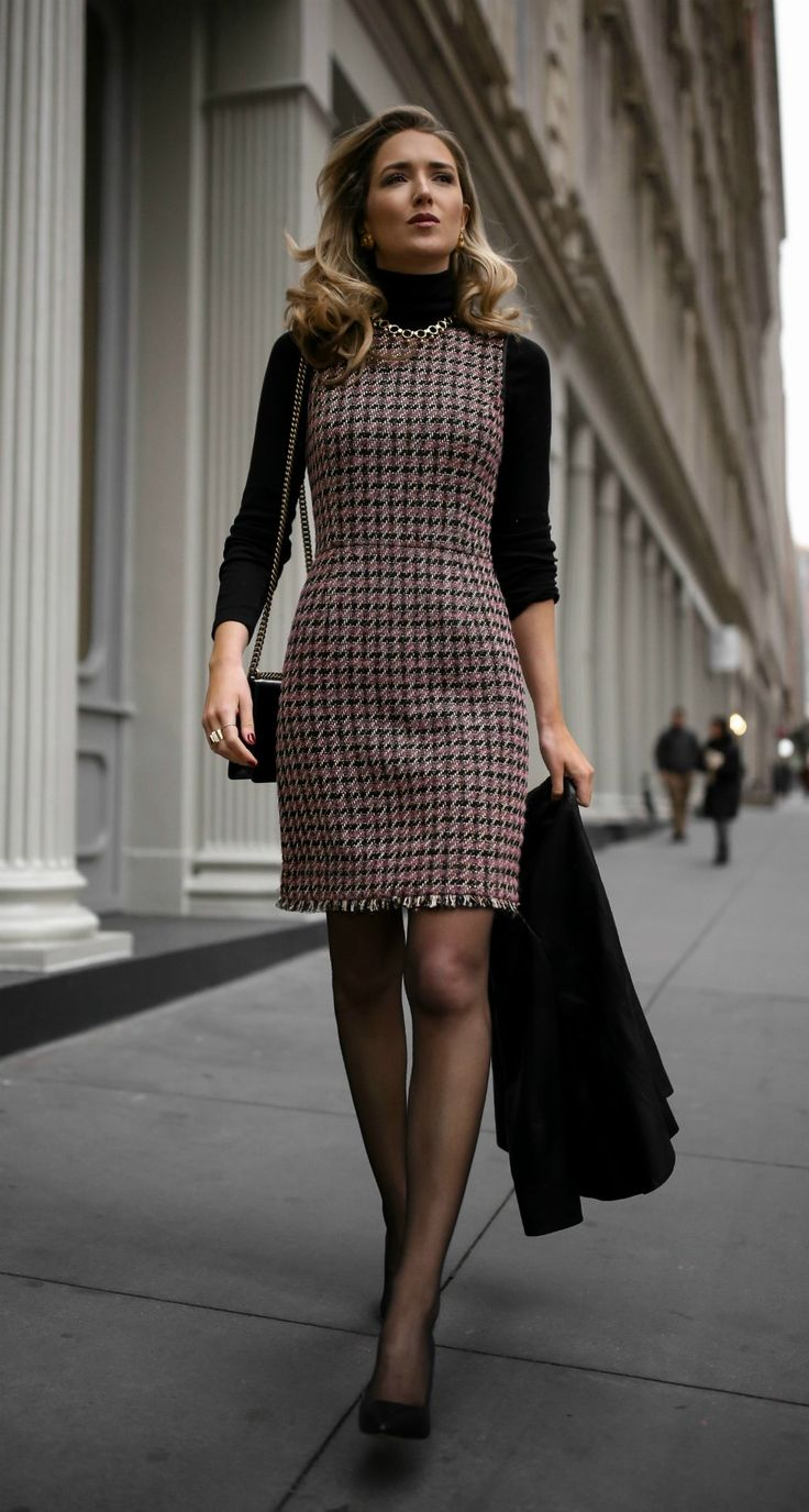 Click for outfit details!  Tweed fit-and-flare houndstooth dress, black layering turtleneck, black leather victorian peplum jacket, sheer tights, classic black pumps and a black leather crossbody bag {Brooks Brothers, Manolo Blahnik, Gucci, fall fashion, wear to work, office style, what to wear to a client meeting, what to wear to work, professional style, fashion blogger}