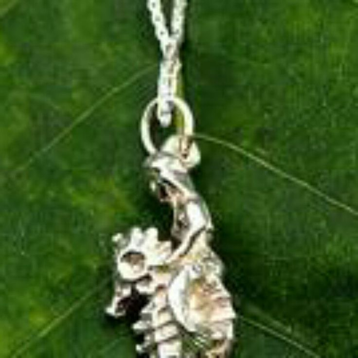 Solid Silver Mermaid on Seahorse Necklace. Very detailed intricate pendant on chain.