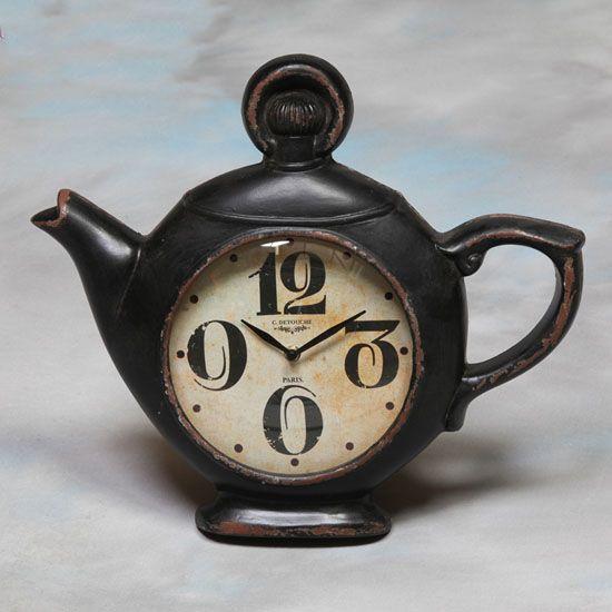 Tea pot wall clock in antique black