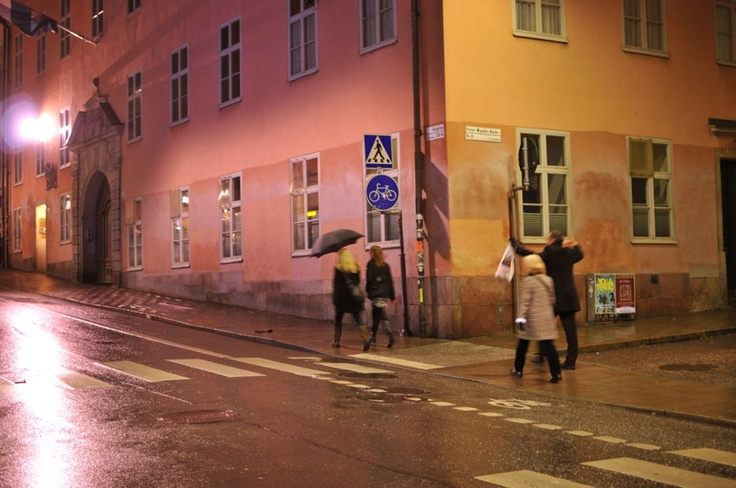 Pink and Yellow - Gotgatan, Stockholm, Sweden by Night