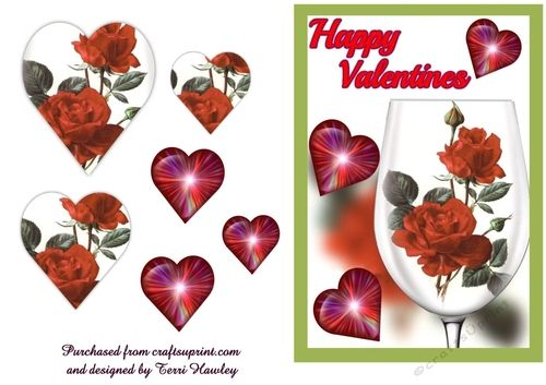 this is a beautiful 3D valentines card that can be sent to anyone.  Has a wine glass filled with roses , and hearts all around, very easy to make and fits any A5 envelope when finished.