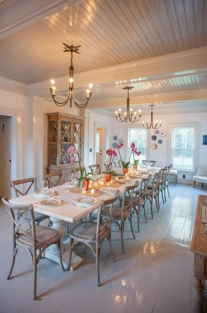 ceiling with beadboard, which had been used elsewhere in the home, and painted it a glossy pale gray (Farrow  Ball's Dimity) to match the w...