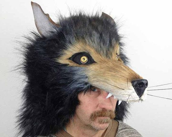 Realistic Wolf headdress costume mask. Ready to ship. Masquerade mask men, women. Animal friendly, faux fur. Handmade.