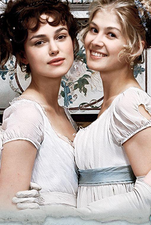 Keira Knightley (Elizabeth Bennet) Rosamund Pike (Jane Bennet) - Pride Prejudice (2005) #janeausten #joewright
