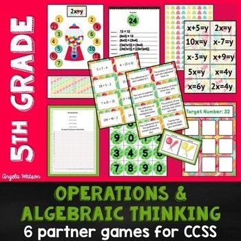 5th Grade Operations & Algebraic Thinking: 6 Math Partner Games for Common Core
