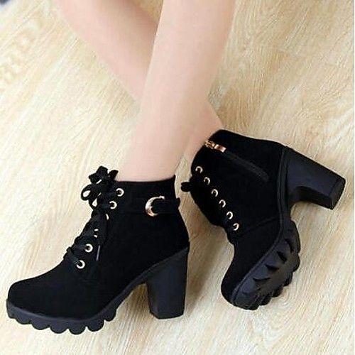 9d2aa49bf Feminino Sapatos Camursa Sintética Primavera Outono Inverno Salto Grosso Botas  Curtas / Ankle Presilha Ziper Cadarço