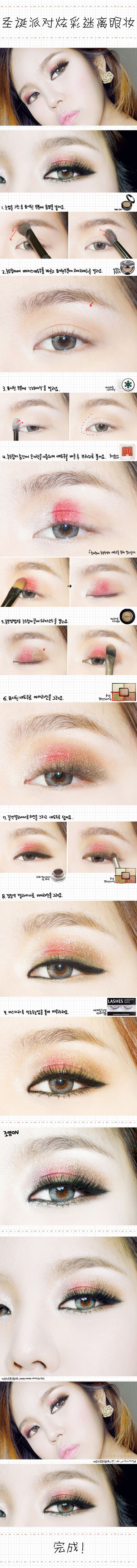 makeup tutorial for Christmas.. Use pink & brown combination for eye shadow