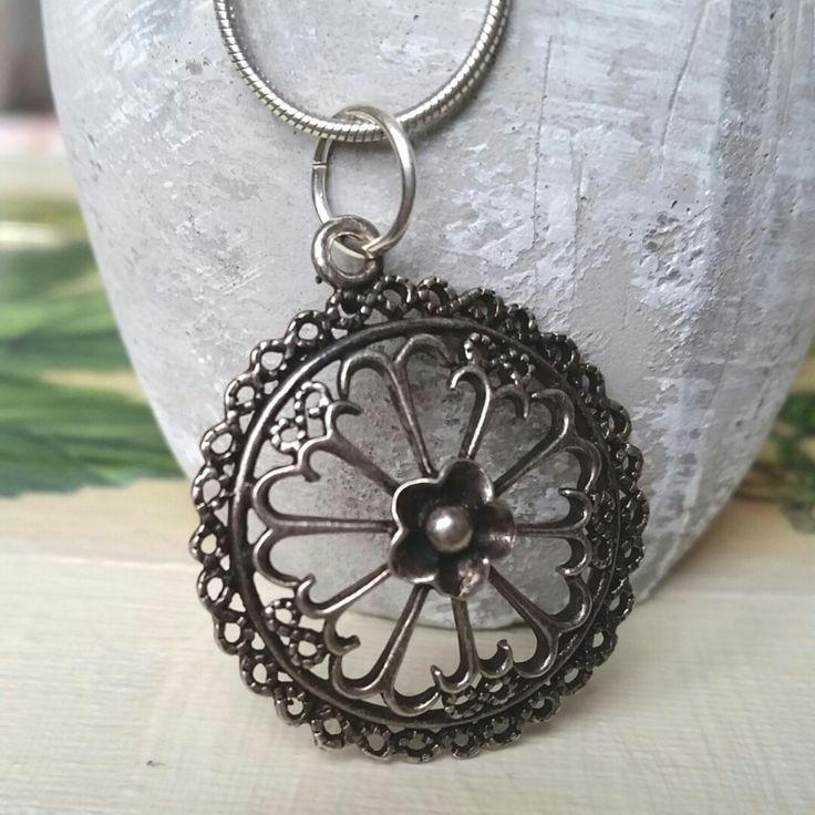 Lovely and unique- oxidised sterling silver mandala necklace pendant