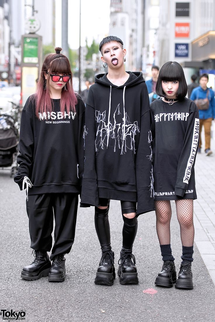 Kasumi, Cham, and Baek.  Never Mind the XU Harajuku Street Styles w/ Sub-Age Hoodie, MISBHV & Demonia