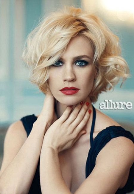 January Jones wavy bob hairstyle