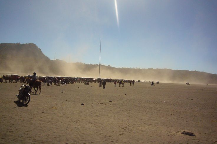 View at the desert around Mount Bromo, East Java. No, the flickering light above is not the sign of Thor coming down :)