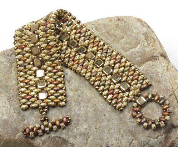 SUPERDUO CZECHMATE TILE Cuff Bracelet by CinfulBeadCreations