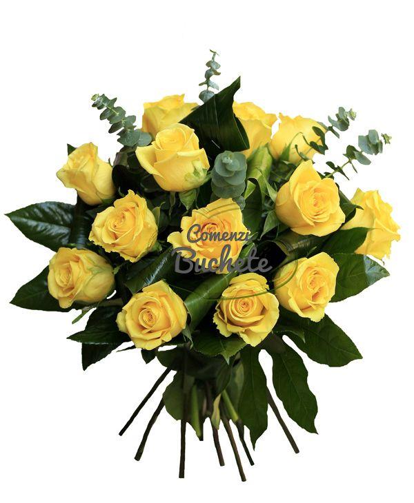 Buchet din 15 trandafiri galbeni. Simplitate, eleganta, stil.