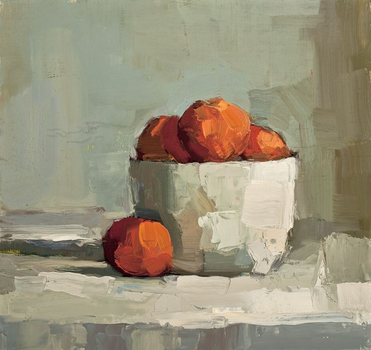 'Clementine' by American artist Lisa Noonis (b.1963). Oil on canvas, 12 x 12 in. via the artist's site